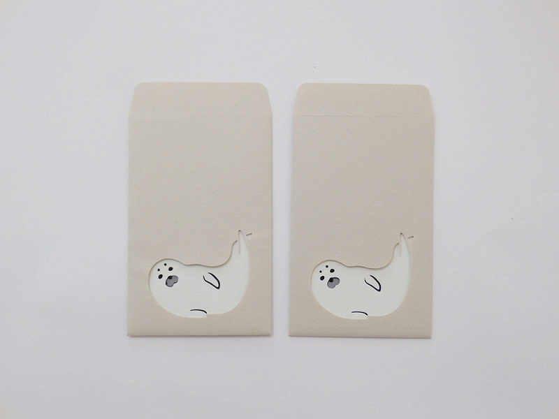 切り絵でつくるぽち袋型メッセージカード 「アザラシ」