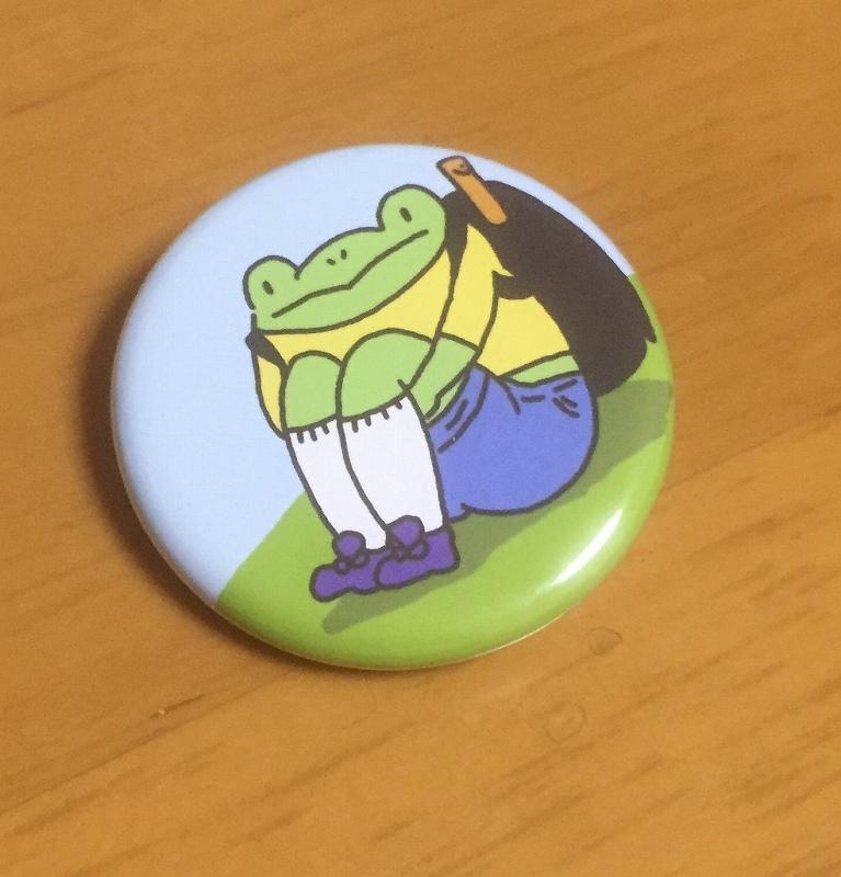 【いきもーる限定販売】カエルのたかしくん缶バッヂ:体育すわり