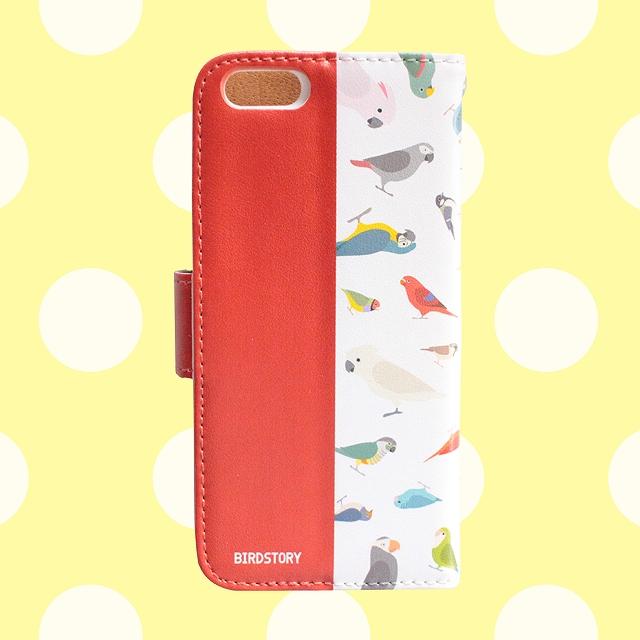 手帳型スマートフォンケース(BirdBirdBird! / レッド)