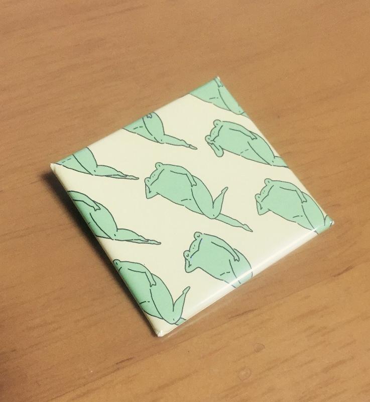 【いきもーる限定販売】カエルのたかしくん缶バッヂ四角:チラシ