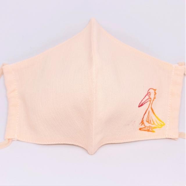 夏向け 涼感いきものマスク:モモイロペリカン ピンク