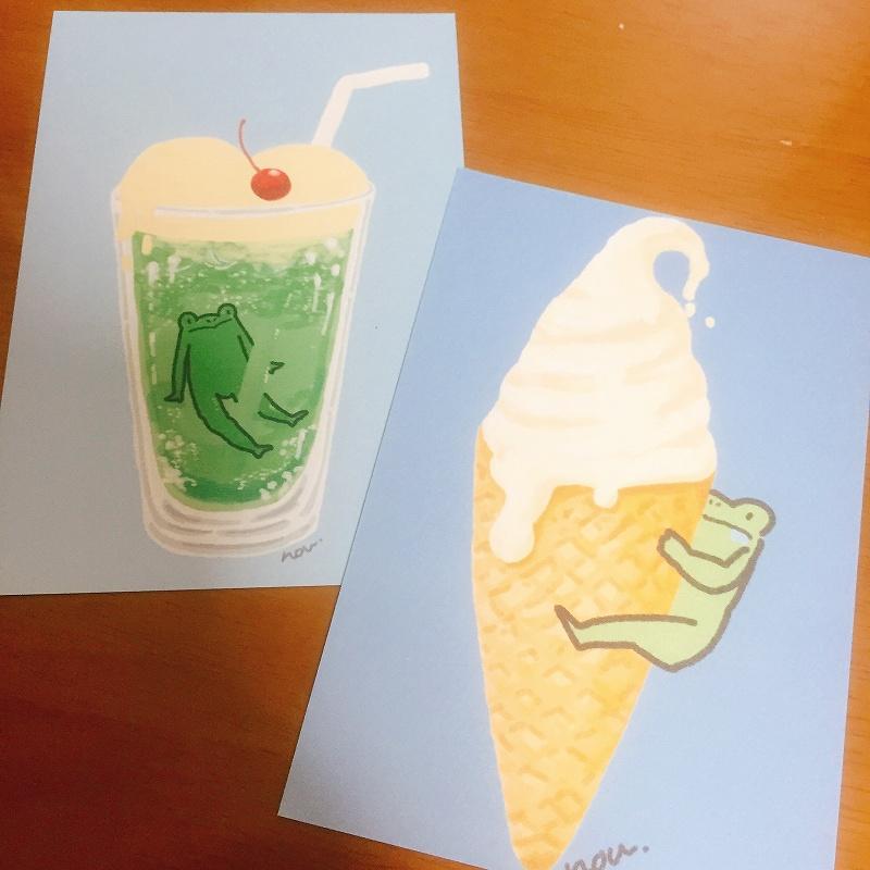 カエルのたかしくんポストカードセット:メロンソーダとアイス