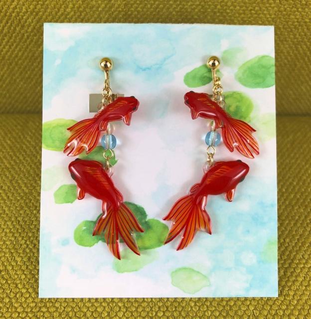 金魚(琉金)*ピアス、イヤリング
