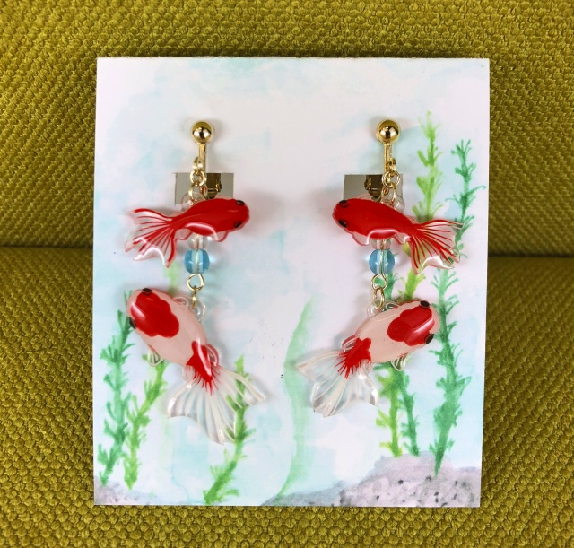 金魚(桜錦)*ピアス、イヤリング