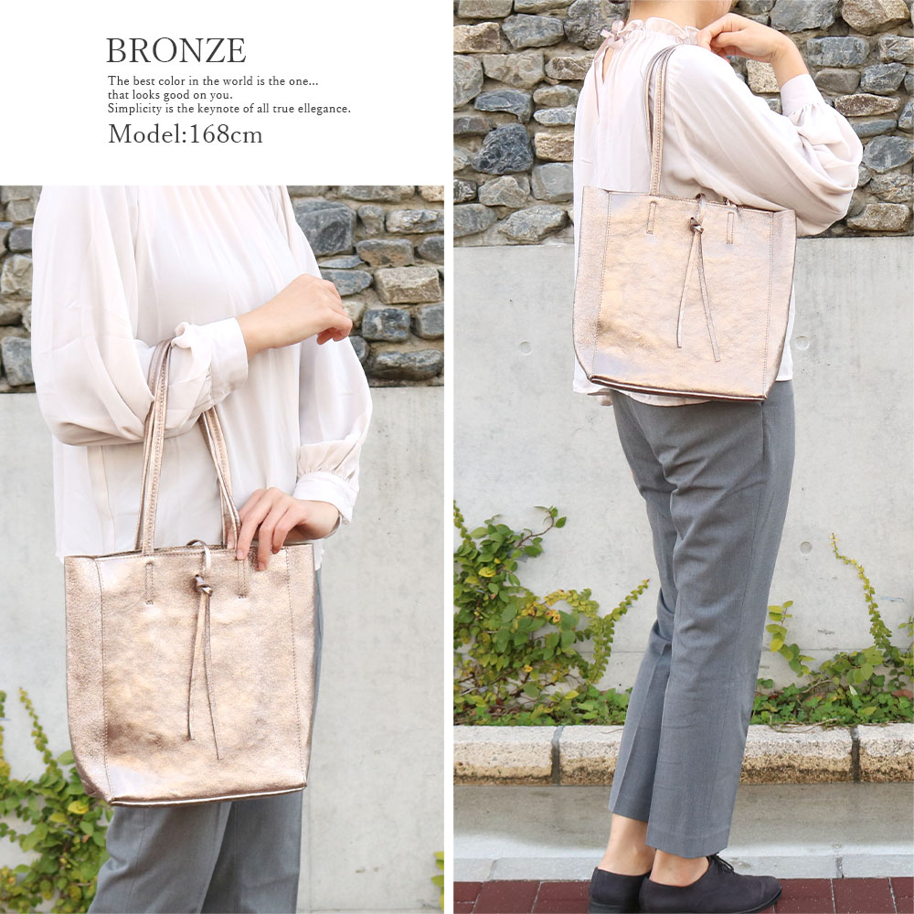 [3Color][ファスナー開閉] andrea cardone 2065/m1 Leather bag sfoderata metal M [イタリア製] トートバッグ-M