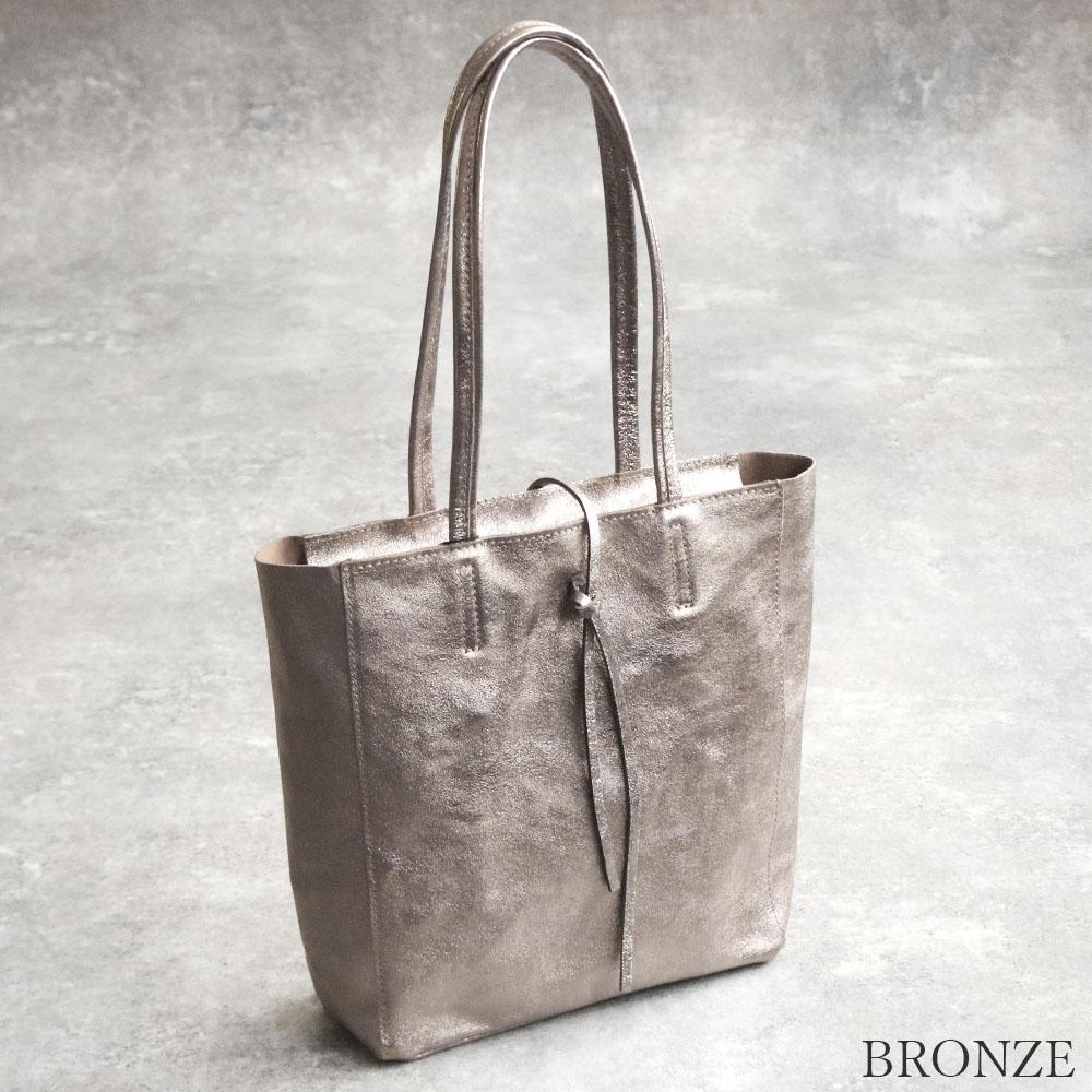 [ファスナー開閉] andrea cardone 2065/m1 Leather bag sfoderata metal M [イタリア製] トートバッグ-M