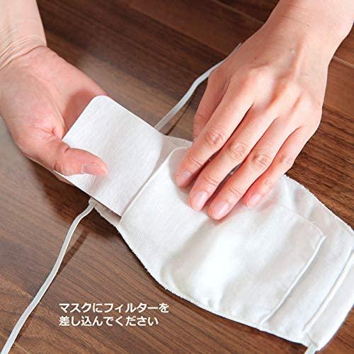 ファミリーセット!!4名様半年分!! ダブルガーゼマスク [N95対応マスク用高機能フィルター3枚付き] 4つに! N95対応ピットフィルターシート(60cm) 12枚セット  [お好みでサイズカット可能] [洗って繰り返し使用可能] 日本製品