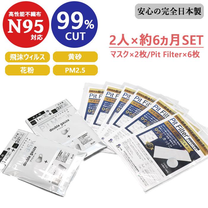 2名様半年分セット!! ダブルガーゼマスク [N95対応マスク用高機能フィルター3枚付き] 2つに! N95対応ピットフィルターシート(60cm) 6枚セット [お好みでサイズカット可能] [洗って繰り返し使用可能] 日本製品