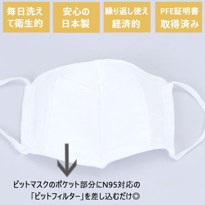 【 マスク5枚セット!!】5枚セットご購入で、フィルターシート2枚プレゼント☆[N95対応] マスク用高機能フィルター付き [ピットマスク] ダブルガーゼマスク [大人用] [子供用] (ピットダブルガーゼマスク1枚/ピットフィルターN95対応3枚入り) 日本製 [洗って繰り返し使用可