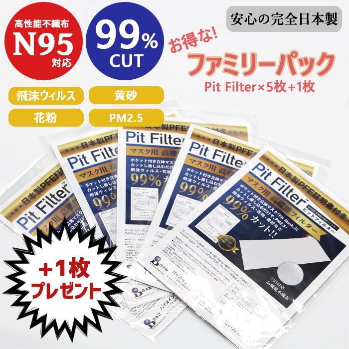 【 フィルターシート5枚セット!!】 フィルターシート5枚ご購入で、フィルターシート1枚プレゼント☆ [N95対応] マスク用高機能フィルター 60cm 「Pit Filter」 ウィルス・PM2.5・花粉など99%カット!! [洗って繰り返し使用] [お好みでサイズカット可能]