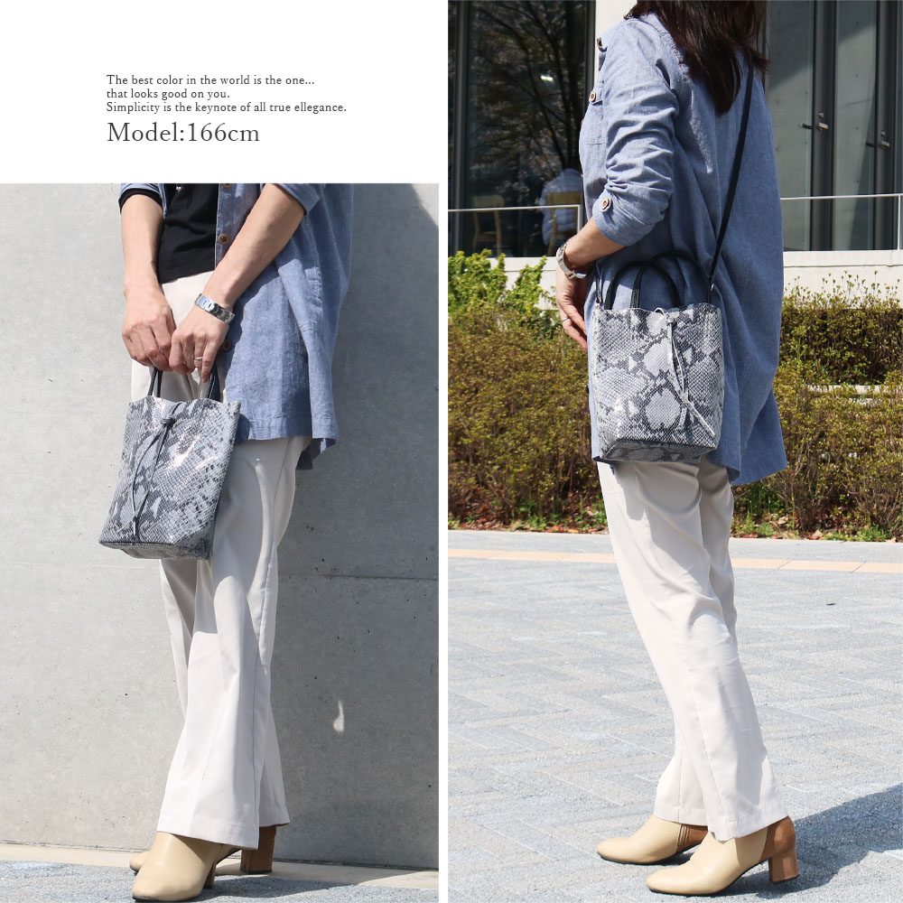 [2color]andrea cardone 1083 Leather bag XS Python pattern [イタリア製] 2wayショルダー付き ハンドバッグ-XS