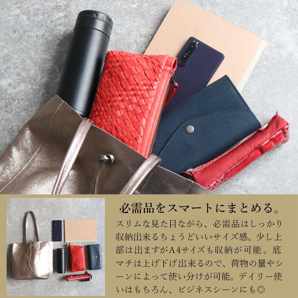 [4Color]andrea cardone 2065/m1 Leather bag sfoderata metal M [イタリア製] トートバッグ-M