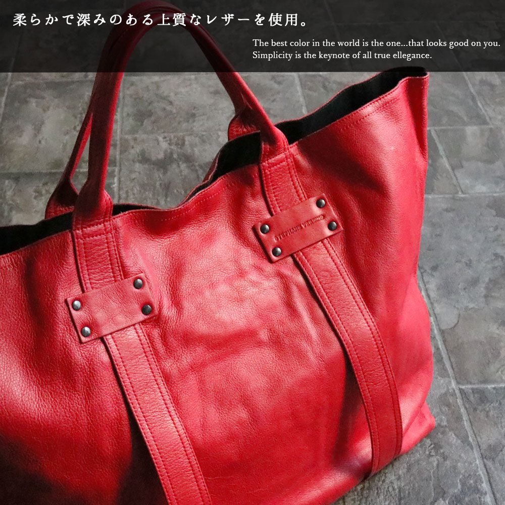 STEPHANE VERDINO MOUSSE CABAS-XL (Rosso/レッド) トートバッグ 本革 XL