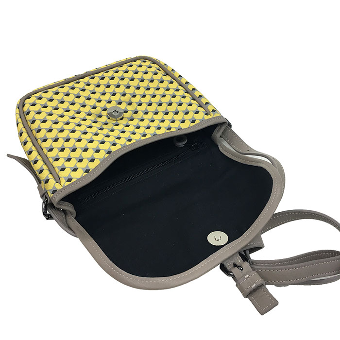 STEPHANE VERDINO [正規品 ] G41 Hexagone Baudrier Yellow/Grey [フランス製] ミニショルダー 六角形柄 幾何学模様