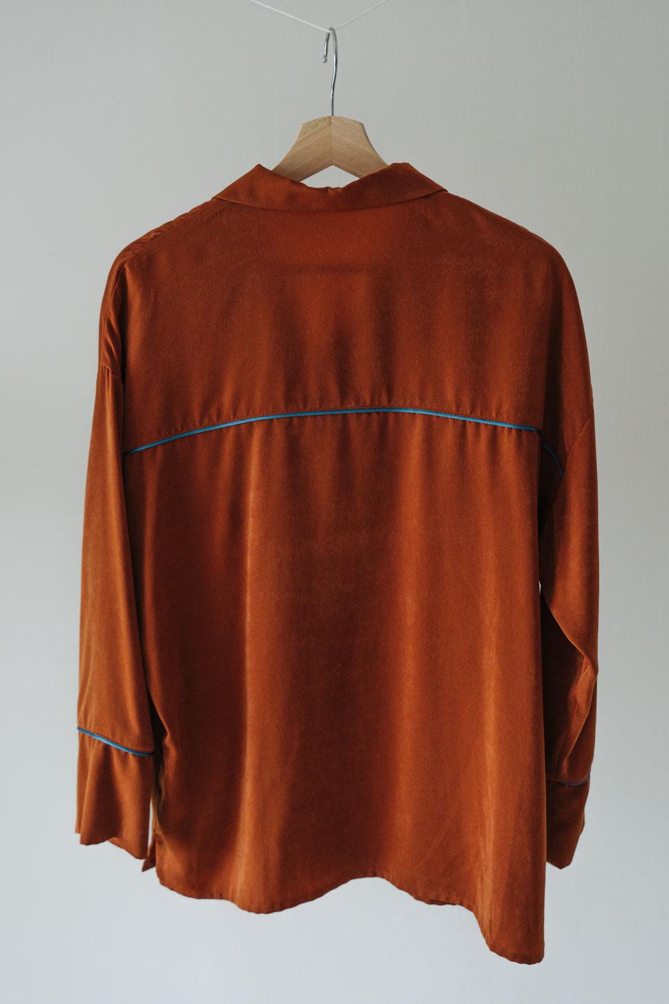 Vintage Satin Pajamas Tops オレンジ