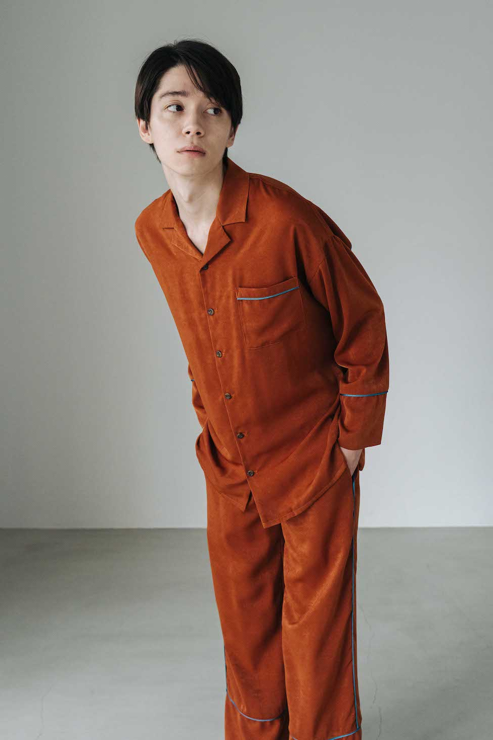 Vintage Satin Pajamas Bottoms オレンジ