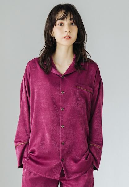 Vintage Satin Pajamas Tops パープルピンク