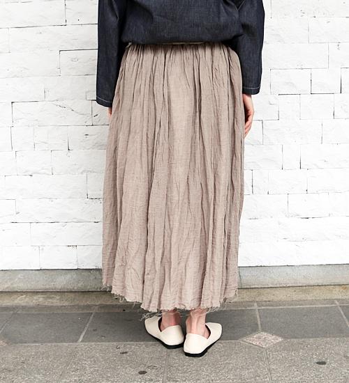 【Gauze#/ガーゼ】リネンレイヤードスカート