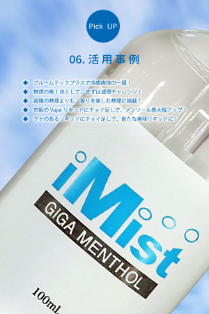 iMist プルームテックプラス専用 ギガメンソール リキッド 100ml カートリッジ 5個セット