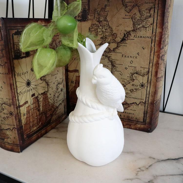 陶器フラワーベース 花瓶 小鳥L
