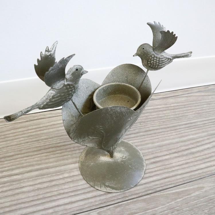 アイアンキャンドルホルダー 小鳥&ハート