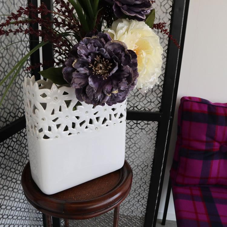 陶器フラワーベースL 花瓶 ホワイト