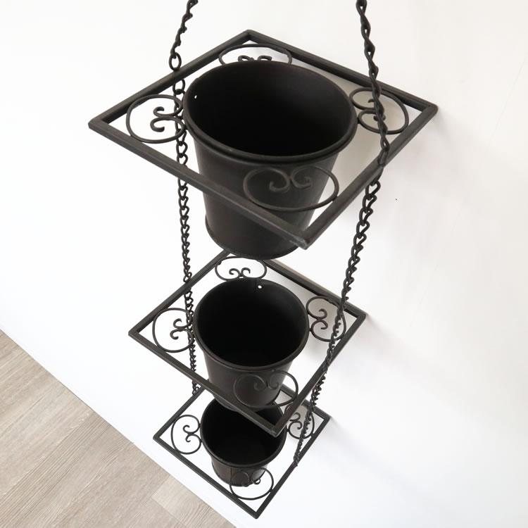 3ポットハンギングプランター 黒