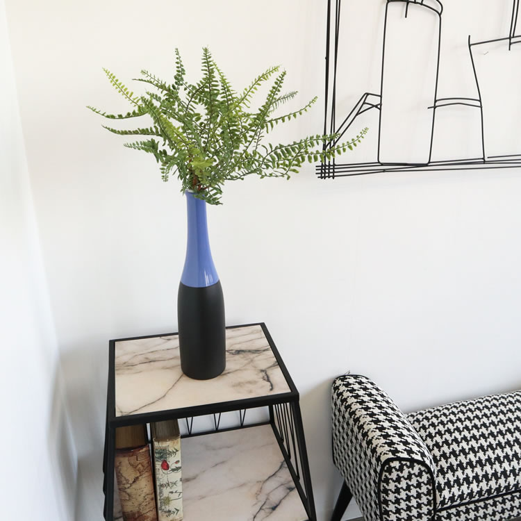 陶器フラワーベース 花瓶 ブラック&ブルー