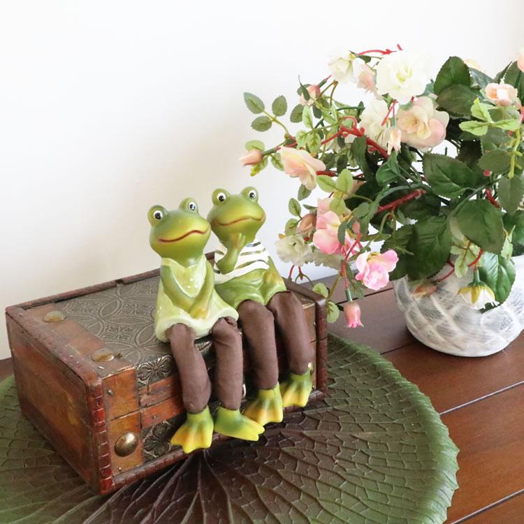 お座り人形 カエル 2個セット