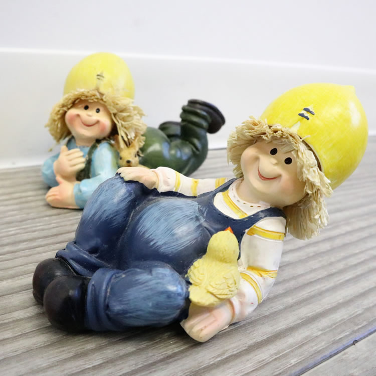 置物 フルーツこびと妖精シリーズ 寝そべりレモン妖精 人形