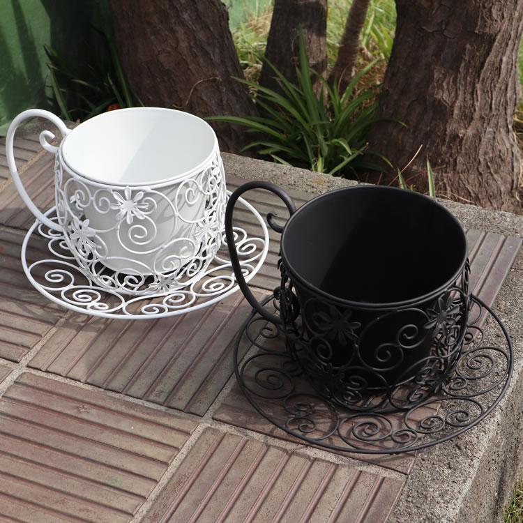 5月中旬再入荷予定 ティーカップ型プランター 鉢カバー ホワイト