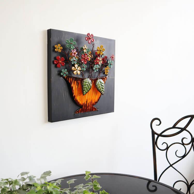 壁 インテリア おしゃれ | 壁掛けインテリア フラワーオレンジ