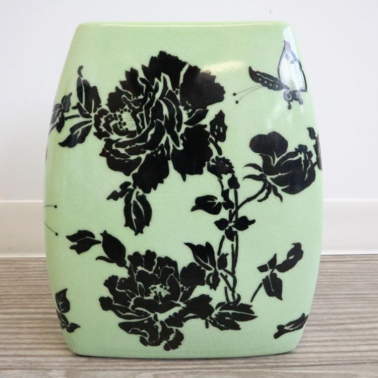 フラットフラワーベース 花瓶 ライトグリーン