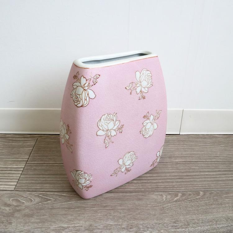 フラットフラワーベース 花瓶 ライトピンク