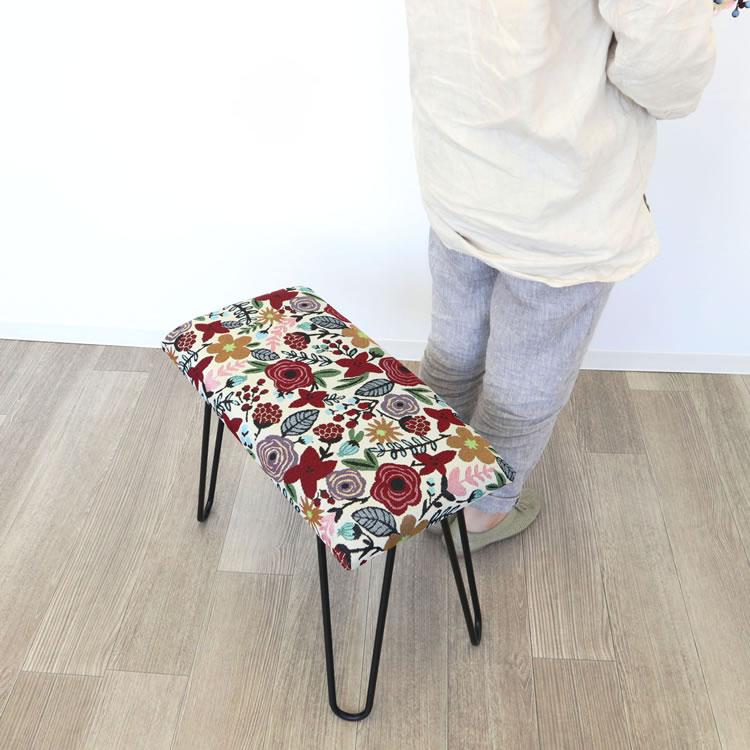 スツール おしゃれ インテリア | ベンチスツール 長方形 花柄