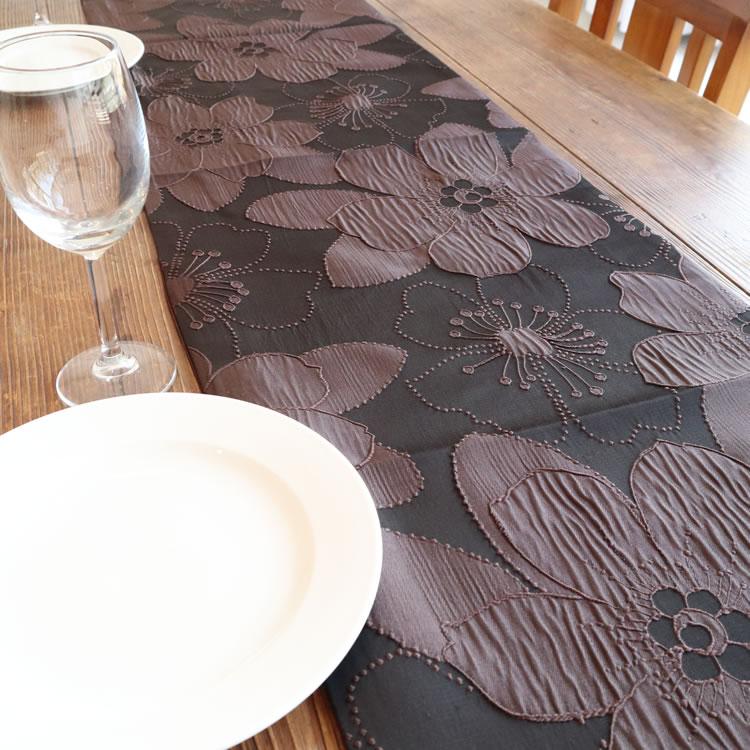 テーブルランナー ブラウン フラワー 花柄