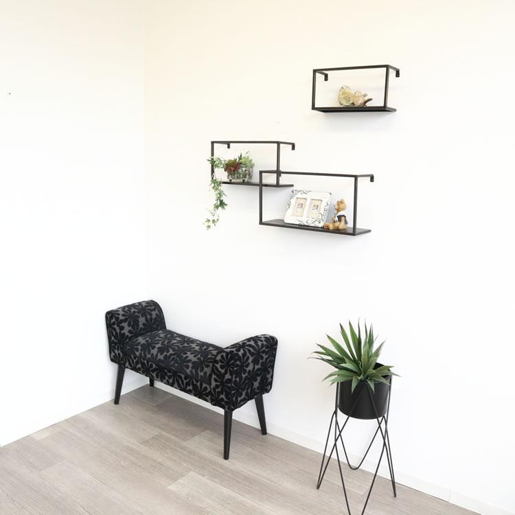壁掛け棚 ディスプレイシェルフ 四角型 3個セット