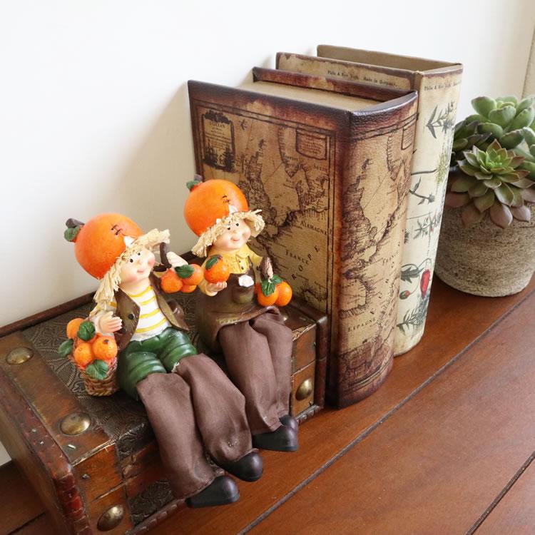 置物 フルーツこびと妖精シリーズ お座りオレンジ妖精 人形