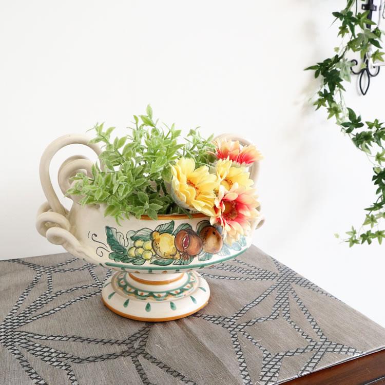 gianfranco ballerini 陶器 フラワーベース フルーツ柄