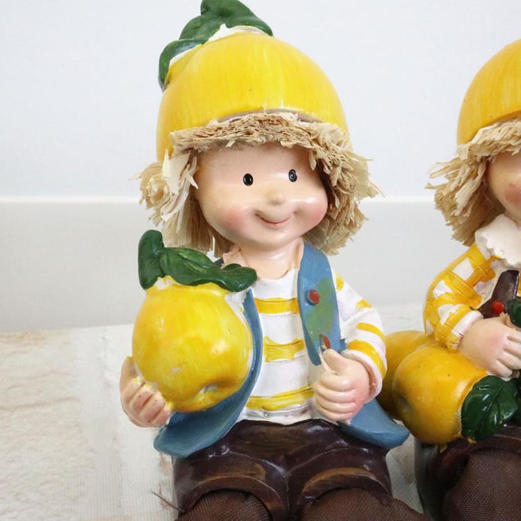 置物 フルーツこびと妖精 お座り妖精グレープフルーツ 人形