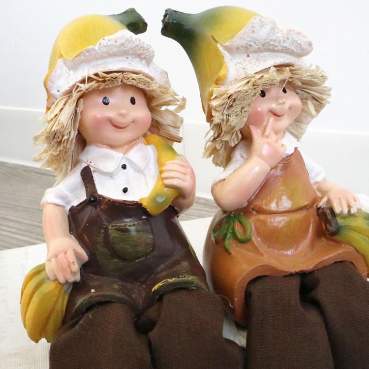 置物 フルーツこびと妖精シリーズ お座りバナナ妖精 人形
