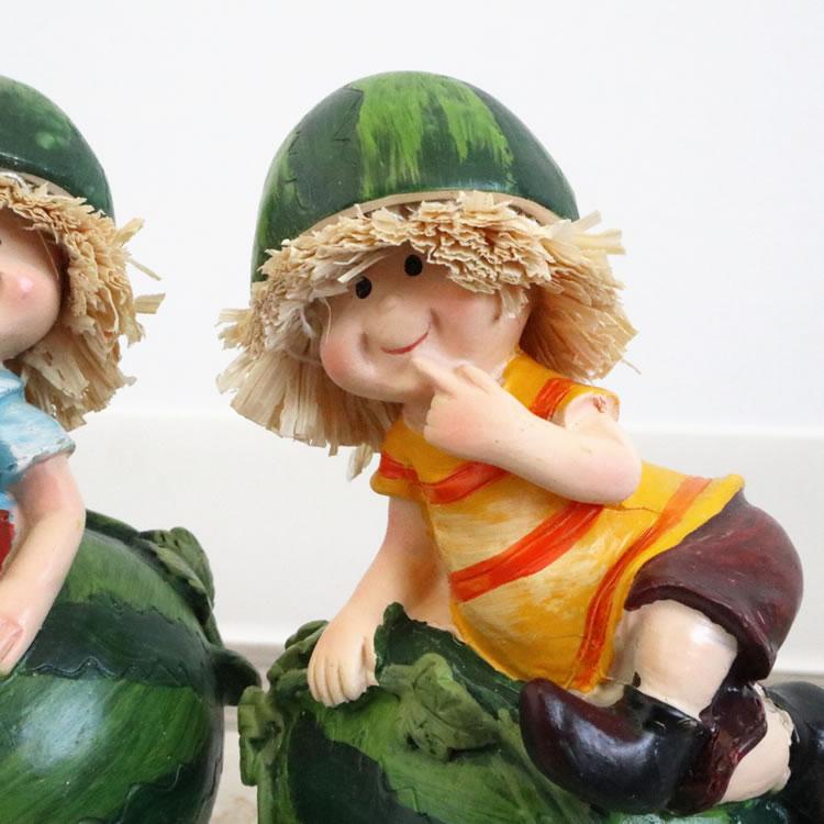 置物 フルーツこびと妖精シリーズ くつろぎスイカ妖精 人形