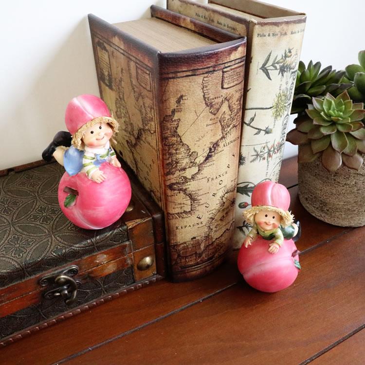 置物 フルーツこびと妖精シリーズ くつろぎピーチ妖精 人形