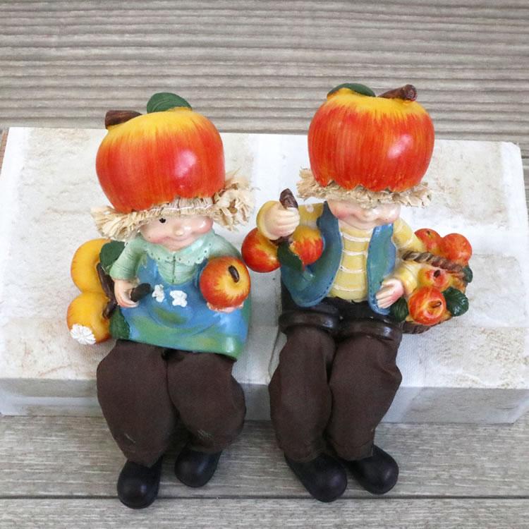 置物 フルーツこびと妖精シリーズ お座りリンゴ妖精 人形