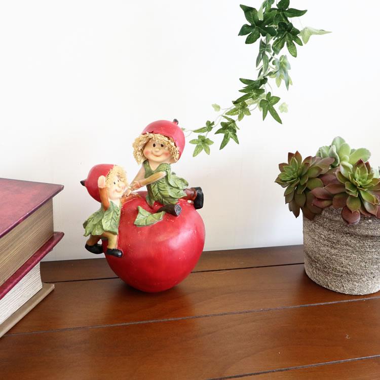 置物 フルーツこびと妖精シリーズ りんごと子供