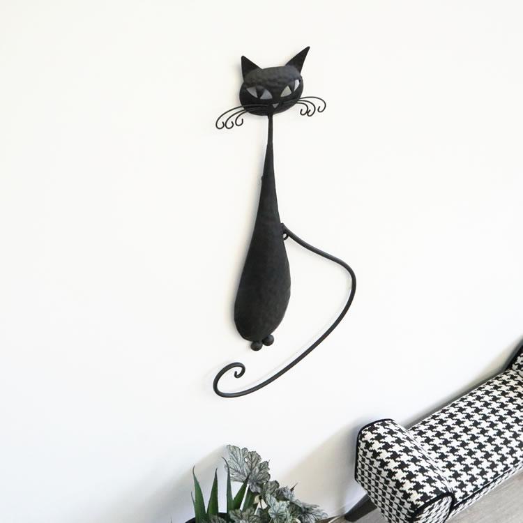 壁掛けインテリア ウォールデコレーション ネコ黒