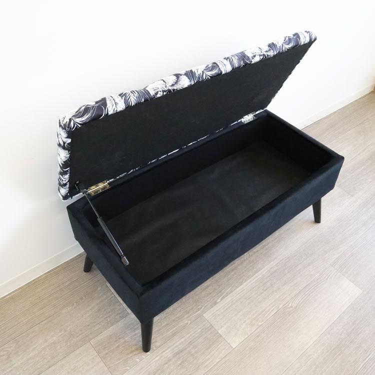 スツール おしゃれ 収納 | ベンチスツール収納ボックス ボタニカル 黒002