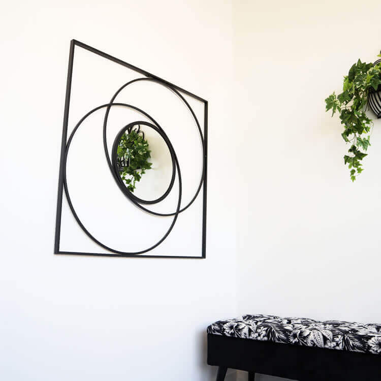 壁掛け鏡 おしゃれ シンプル モノトーン ブラック大 鏡
