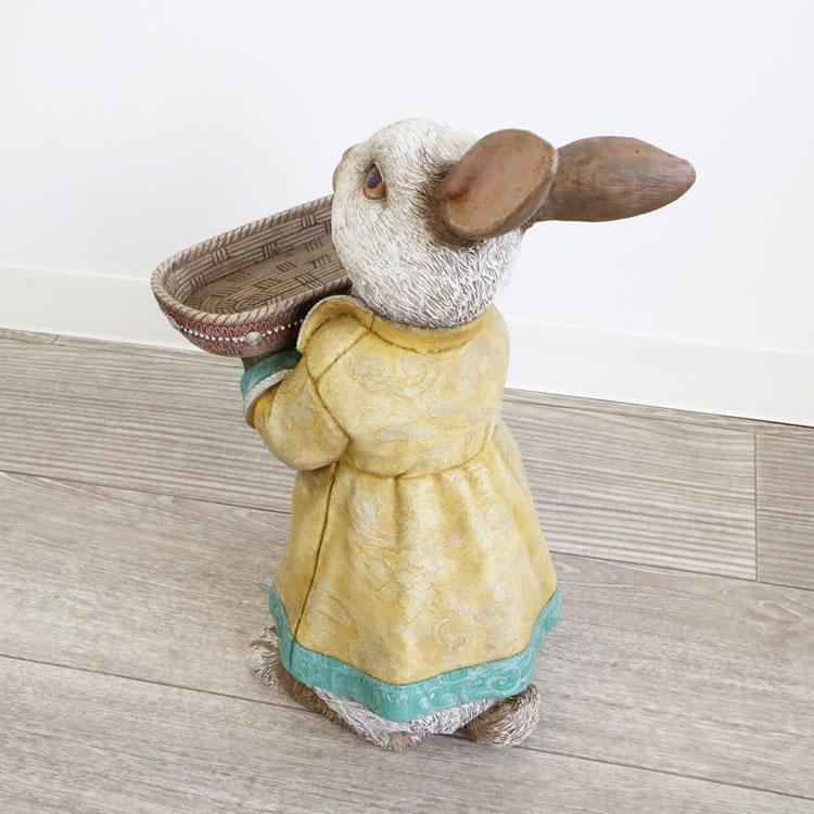 ガーデニング雑貨 トレイ オブジェウサギ