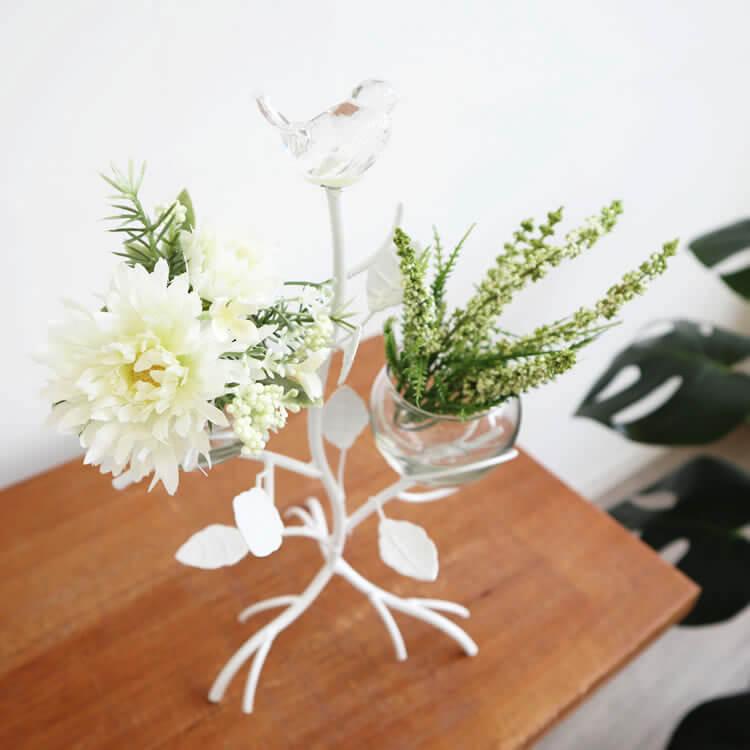 簡単セット 造花付き おしゃれなフラワーベース2カップ